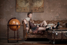 Young Woman In Steampunk Style...