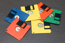 Stack Of Colorful Floppy Disks