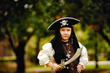 Boy in a pirate costume on Halloween