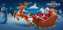 Merry Christmas With Santa Claus Sleigh