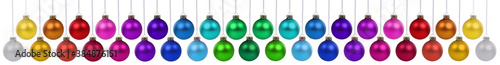 Christmas balls many baubles banner colorful decoration hanging isolated on whit Tapéta, Fotótapéta