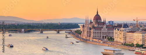 Fotografie, Obraz City summer landscape, panorama, banner - top view of the historical center of B