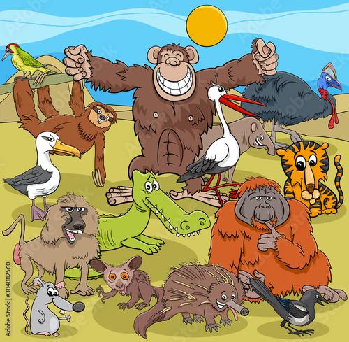 Naklejka premium cartoon wild animal comic characters group