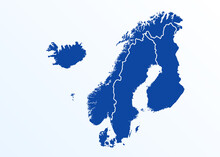 Scandinavia Map. Norway, Sweden, Finland, Denmark, Iceland And Faroe Islands. Nordic Countries Map. Vector Background For Infographics