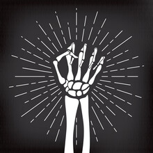 Human Skeleton Raised Hand Clenched Into Fist In Front Of Sunburst Halloween Comic Template - White On Black Background - Mixed Graphic Design