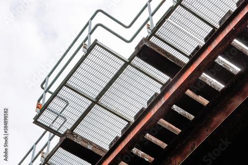Obraz na plátně Abstract closeup of railway trestle bridge.