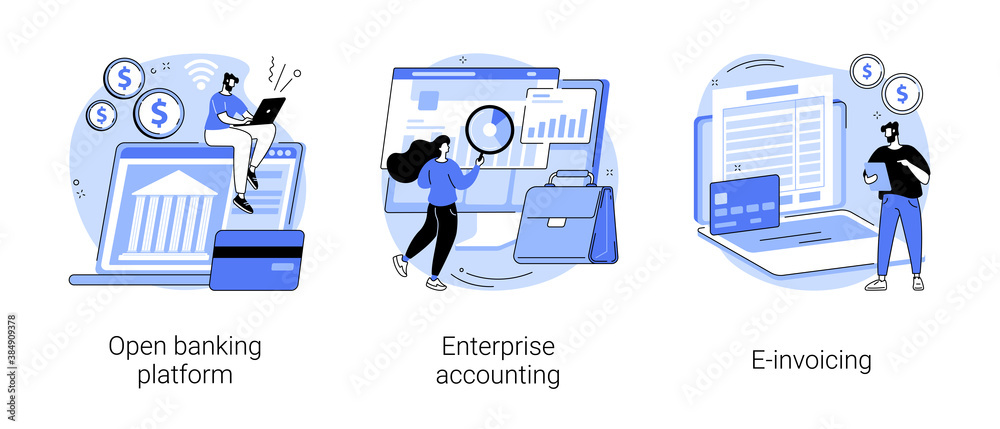 Fototapeta IT accounting system abstract concept vector illustration set. Open banking platform, enterprise accounting, e-invoicing, business financial software, electronic invoice tool abstract metaphor.