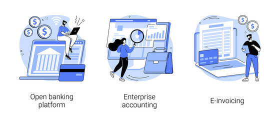 Fototapeta Boks IT accounting system abstract concept vector illustration set. Open banking platform, enterprise accounting, e-invoicing, business financial software, electronic invoice tool abstract metaphor.