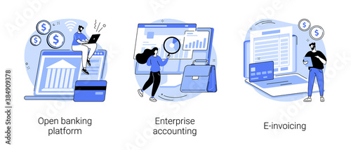 IT accounting system abstract concept vector illustration set. Open banking platform, enterprise accounting, e-invoicing, business financial software, electronic invoice tool abstract metaphor. - 384909378