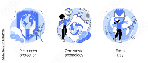 Environmental activism abstract concept vector illustration set. Resources protection, zero waste technology, Earth Day, save planet, climate change, reuse reduce recycling abstract metaphor.