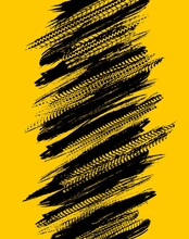 Offroad Grunge Tyre Prints, Vector Abstract Black Pattern On Yellow Background For Automobile Service Or Racing Tournament Design. Rally, Motocross Dirty Tires Print, Off Road Grungy Trails Texture