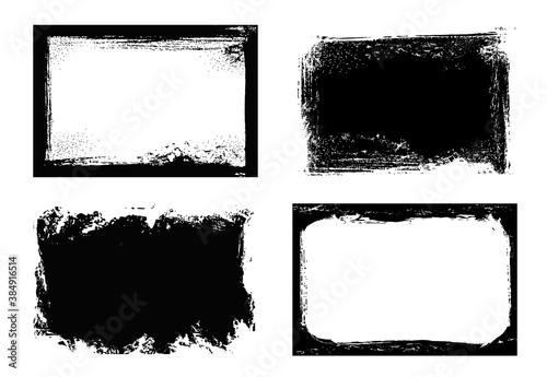 Obraz Grunge frames isolated vector black rectangular borders with rough scratched edges. Grungy vintage old texture, dirty spatter vignettes, retro design elements or photo frames on white background set - fototapety do salonu