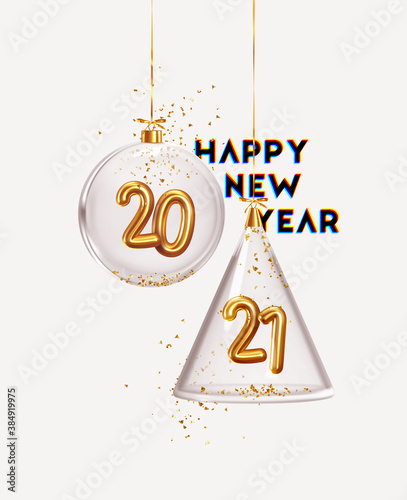 Fototapeta Happy New Year 2021. Golden metal number in glass bauble, Christmas decoration. Realistic 3d render metallic sign. Celebrate party 2021. Xmas Poster, banner, cover card, brochure, flyer, layout design obraz