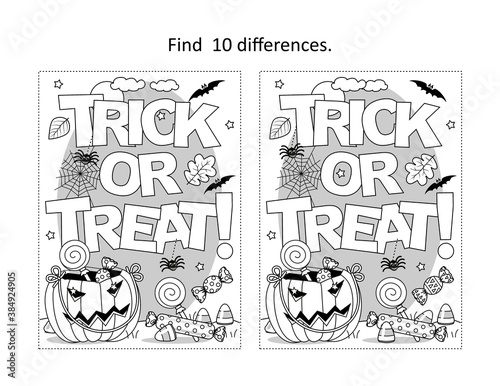 Obraz Find 10 differences visual puzzle and coloring page with Halloween