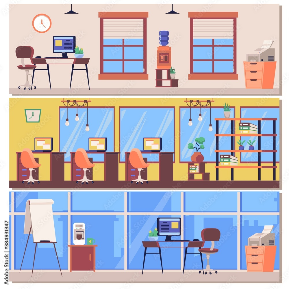 Fototapeta Office workplace interiors and business premises, flat vector illustrations set.