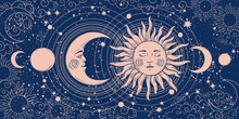 Magic Banner For Astrology, Tarot, Boho Design. Universe Art, Crescent Moon And Sun On A Blue Background. Esoteric Vector Illustration, Pattern