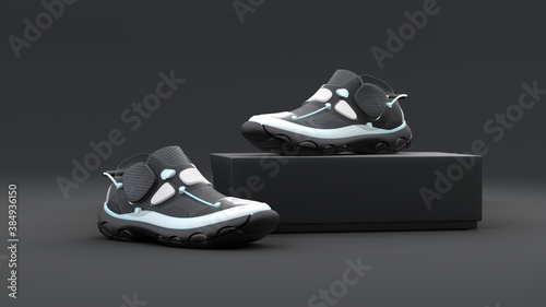 Footwear concept with box package on black background. Modern design. 3d illustration.