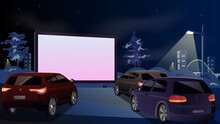 Drive-in Cinema. Open-air Cars Are Watching A Movie On The Movie Screen. Open Space Auto Theater. Night City With Automobile Outdoor Parking. Film Festival, City Entertainment. Vector Drawing