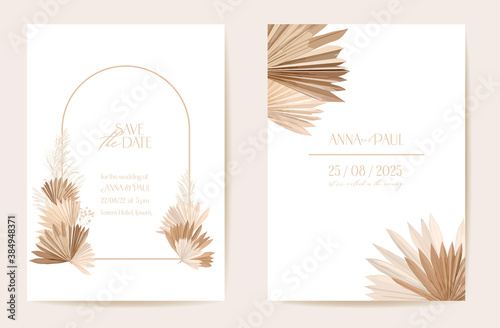 Wedding invitation dried tropical palm leaves, flowers card, dry pampas grass wa Tapéta, Fotótapéta