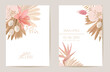 Wedding watercolor orchid flowers Invitation, dry tropical palm leaves card, dried pampas grass template