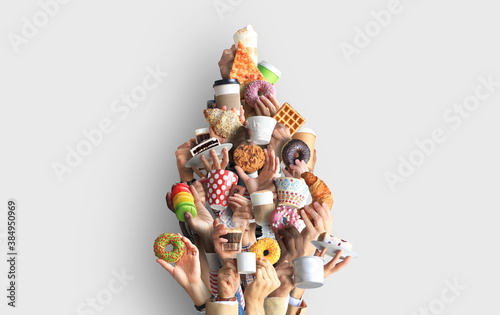 People are holding mugs and paper cups of coffee and desserts. Concept on the theme of cafes and coffee. Christmas tree.