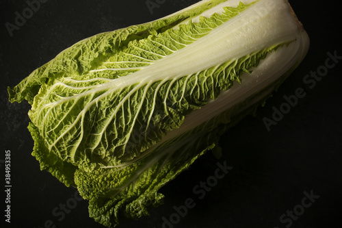 Photo Peking cabbage close up on a black background