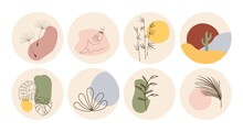 Vector Set Of Round Boho Icons And Emblems For Social Media Story Highlight Covers. Hand-drawn Trendy Design Templates For Bloggers, Designers And Photographers.