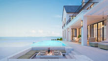 Luxury Beach House With Sea View Swimming Pool And Terrace At Vacation.3d Rendering