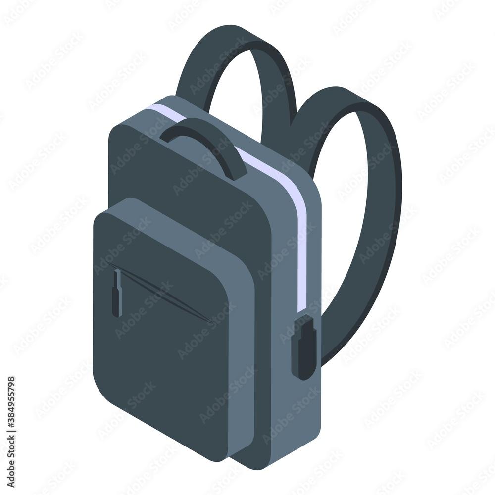 Fototapeta Laptop school backpack icon. Isometric of laptop school backpack vector icon for web design isolated on white background