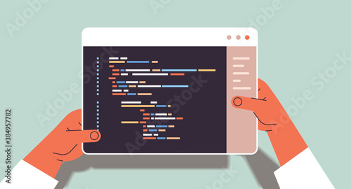 Obraz web developer hands using tablet pc creating program code development of software and programming concept vector illustration - fototapety do salonu