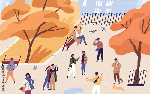 Fotomural Walking people spend time in autumn city park