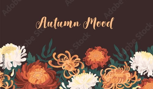 Autumn backdrop with blooming flowers Poster Mural XXL