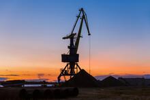 Port Crane On Sunset