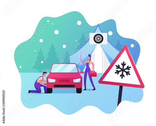 Fototapeta Road Safety, Accident, Garage Service. Mechanics Characters Change Summer Car Tyres on Winter ones. Repairman Work obraz