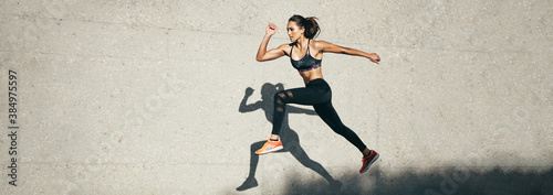 Tela Fit woman jumping and running
