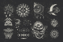 Set Of Decorative Tarot Cards. Vintage Retro Vintage Engraving Style. The Sun, Moon Phases, Crystals, Magic Symbols. Print In The Interior And Design. Vector Graphics