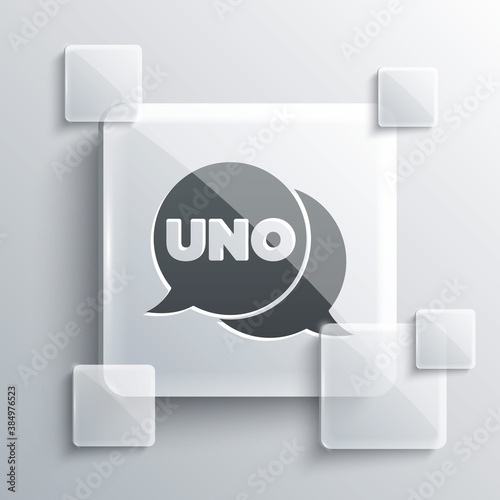 Cuadros en Lienzo Grey Uno card game icon isolated on grey background