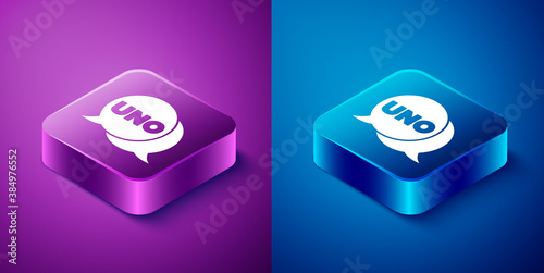 Fotografía Isometric Uno card game icon isolated on blue and purple background