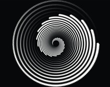 Dotted, Dots, Speckles Abstract Concentric Circle. Spiral, Swirl, Twirl Element.Circular And Radial Lines Volute, Helix.Segmented Circle With Rotation.Radiating Arc Lines.Cochlear