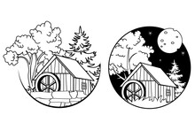 Old Watermill In A Forest. Day And Night Scenery In A Circular Button