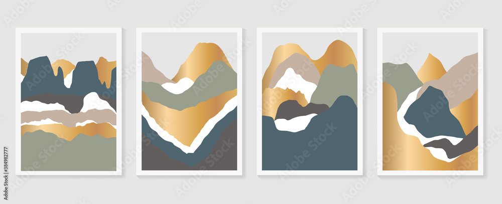 Fototapeta Mountain wall art vector set. Earth tones landscapes backgrounds set with moon and sun.  Abstract Plant Art design for print, cover, wallpaper, Minimal and  natural wall art. Vector illustration.