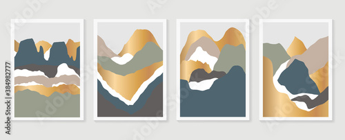 Mountain wall art vector set. Earth tones landscapes backgrounds set with moon and sun.  Abstract Plant Art design for print, cover, wallpaper, Minimal and  natural wall art. Vector illustration.