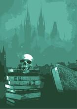 Paysage Gothique,macabre Avec Une Tête De Squelette Sur Des Livres,romans Sur Fond Décor Silhouette De Châteaux,brumes  En Couleur Vert,bleu Pâle.