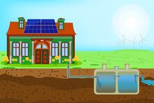 External Network Of Private Home Sewage Treatment System. Sustainable Eco Residential House With Blue Solar Panels On Roof And Underground Septic System And Drain Field Scheme. Wastewater Stock Vector