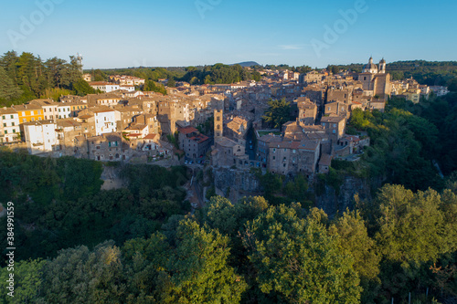 Aerial view of Ronciglione a village in Viterbo. Street houses and a beautiful landscape © Claudio Quacquarelli