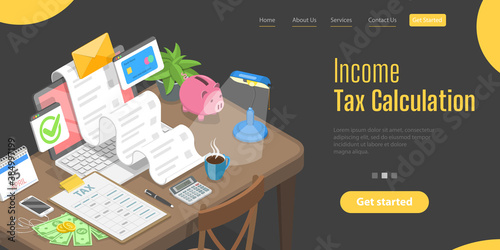 3D Isometric Flat Vector Landing Page Template for Financial Tax Report, Tax Return Calculation Poster Mural XXL