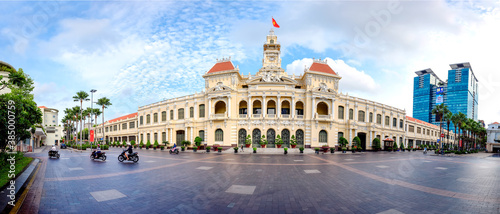 Panorama of building of People's Committee in Hochiminh city Fototapete