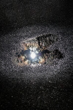 Heart Shaped Puddle Of Water With Reflection Of Sun And Trees