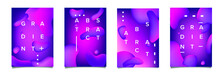 Abstract Geometric Shapes With Neon Gradient Like In Lava Lamp. Futuristic Cover With Liquid Organic Smooth Blobs.