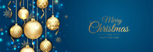 Merry Christmas Web Banner, Gold And Red Xmas Ball. Background For Invitation Or Seasons Greeting.